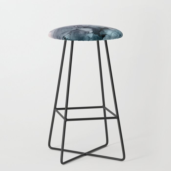 Blush and Payne's Grey Flowing Abstract Painting Bar Stool