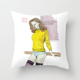 The Yellow Sweater Throw Pillow