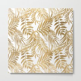 Elegant tropical gold white palm tree leaves floral Metal Print