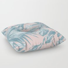 Tropical Leaves Ocean Blue on Coral Pink Floor Pillow