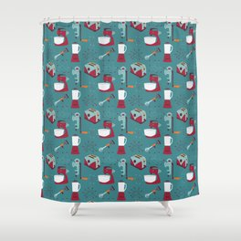 Retro Kitchen - Teal and Raspberry Shower Curtain