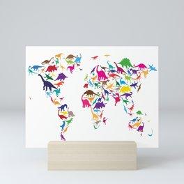 Dinosaur Map of the World Map Mini Art Print