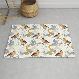 Birds on blooming tree twigs Rug