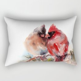 Cardinal Birds Couple Rectangular Pillow