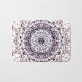 Bohemian White Detailed Mandala Design Bath Mat