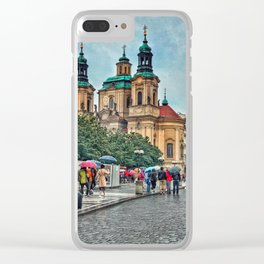 Prague Streetscape Clear iPhone Case