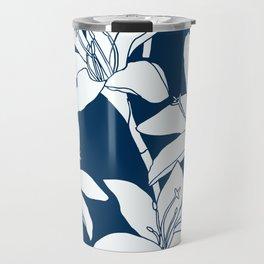 Amaryllis Floral Line Drawing, White Petals on Midnight Blue Travel Mug