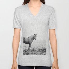 Horse in Icelandic Landscape Photograph Unisex V-Neck