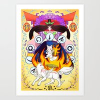 okami Art Prints featuring Okami by Willow