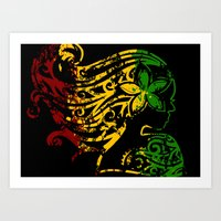 reggae Art Prints featuring Reggae Lady by Lonica Photography & Poly Designs