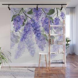Purple Wisteria Flowers Wall Mural