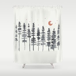 Nighttime Watercolor Forest Shower Curtain