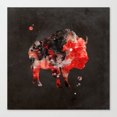 Watercolor Buffalo Bison Painting Black Red Grunge Canvas Print