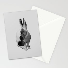 gas mask rabbit Stationery Cards