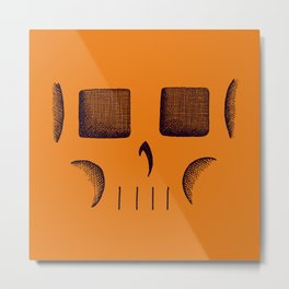 Skull Linework (Black / Orange) Metal Print
