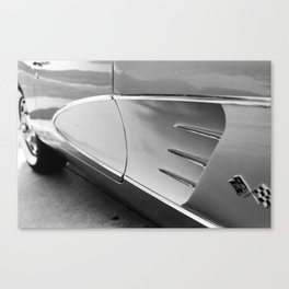 Classic American Sports Car, Close-up, Black and White Photo Canvas Print
