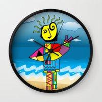 surfer Wall Clocks featuring Surfer by Moisés Ferreira