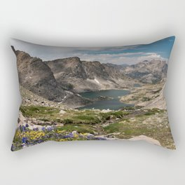 Alpine Lakes, Wildflowers and Mountains in the Wyoming Wilderness Rectangular Pillow