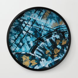 Turquoise and Gold Abstract Painting Wall Clock