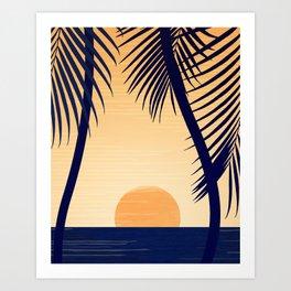 Retro Golden Sunset - Tropical Scene Art Print