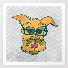 Mack The Cool Nerd Terrier Dog Art Print