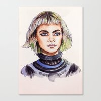marc jacobs Canvas Prints featuring Cara/Marc Jacobs 2014 by vooce & kat