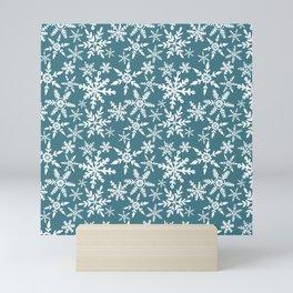Snowflakes - blue Mini Art Print