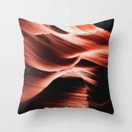 Lower Antelope Canyon, Orange Red Wavy Cave, Utah/Arizona, Photo Art Print Throw Pillow