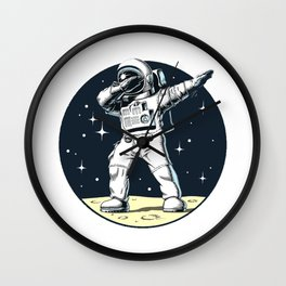 Dabbing Astronaut Funny Space Dance Wall Clock