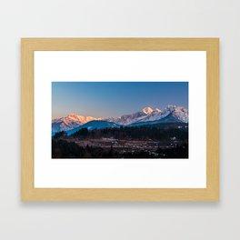Sun goes down on Mangart, Italian alps Framed Art Print