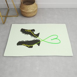 Green and Yellow Soccer Cleats with Heart Rug