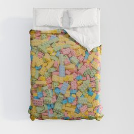 Candy Building Blocks, Multicolored Pastel Pattern Duvet Cover