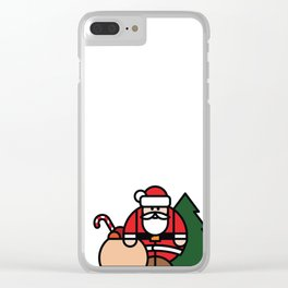Santa Claus, bag of toys and Christmas tree Clear iPhone Case