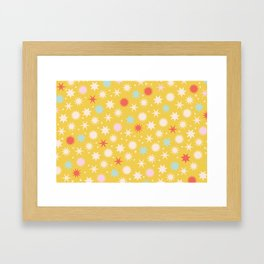 Vintage Christmas Wrapping Paper Pattern Design Mustard Stars & Dots Framed Art Print