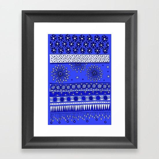 Yzor pattern 007-2 blue Framed Art Print