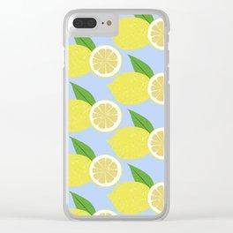 Lemon fruits on blue Clear iPhone Case