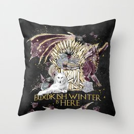 Bookis Winter is Here Throw Pillow