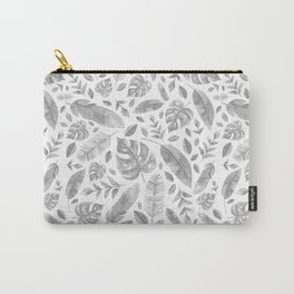Tropical Leaves in Black and White Carry-All Pouch