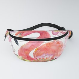Flamingo in Tropical Flower Jungle Fanny Pack