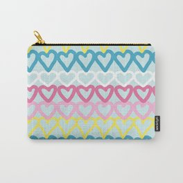 Colorful doodle hearts over blue Carry-All Pouch
