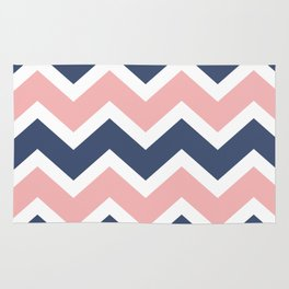 Zig Zag Chevron Pink and blue waves pattern Rug