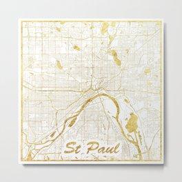 St Paul Map Gold Metal Print