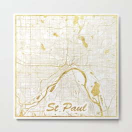 St Paul Map Gold Metal Print