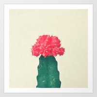 Red Plaid Cactus Art Print