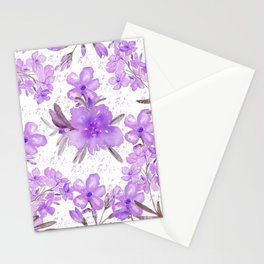 Watercolor lavender lilac brown modern floral Stationery Cards