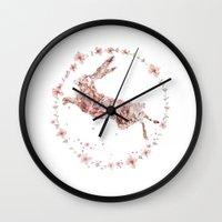 hare Wall Clocks featuring Hare by Danse de Lune