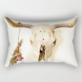 Flower and Skull Print and Collection  Rectangular Pillow