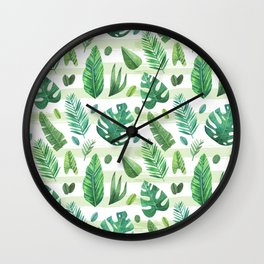 Tropical Palm Tree Leaves Wall Clock