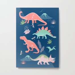 Jurassic Dinosaurs on Blue Metal Print