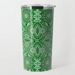 Vintage Psychedelic Deep Moss Green Meditation Print Travel Mug